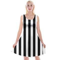 Black And White Stripes Reversible Velvet Sleeveless Dress