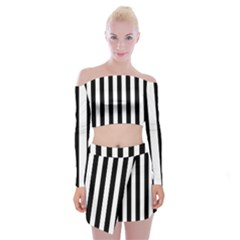 Black And White Stripes Off Shoulder Top With Skirt Set