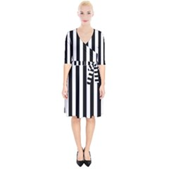 Black And White Stripes Wrap Up Cocktail Dress