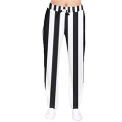 Black And White Stripes Drawstring Pants