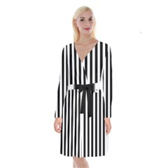 Black And White Stripes Long Sleeve Velvet Front Wrap Dress