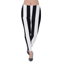 Black And White Stripes Velvet Leggings