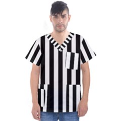 Black And White Stripes Men s V Neck Scrub Top