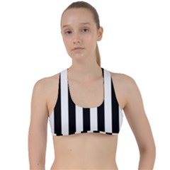 Black And White Stripes Criss Cross Racerback Sports Bra