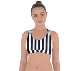 Black And White Stripes Cross String Back Sports Bra