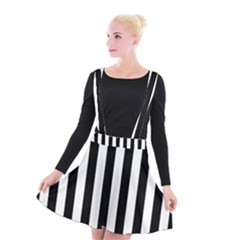 Black And White Stripes Suspender Skater Skirt