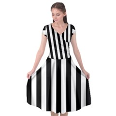 Black And White Stripes Cap Sleeve Wrap Front Dress