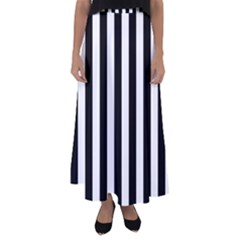 Black And White Stripes Flared Maxi Skirt