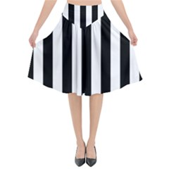 Black And White Stripes Flared Midi Skirt