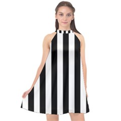Black And White Stripes Halter Neckline Chiffon Dress