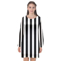 Black And White Stripes Long Sleeve Chiffon Shift Dress