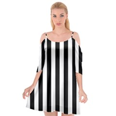 Black And White Stripes Cutout Spaghetti Strap Chiffon Dress