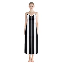 Black And White Stripes Button Up Chiffon Maxi Dress