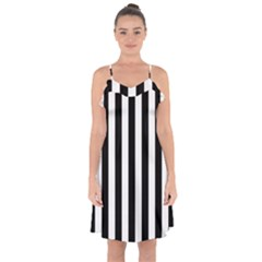 Black And White Stripes Ruffle Detail Chiffon Dress