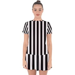 Black And White Stripes Drop Hem Mini Chiffon Dress