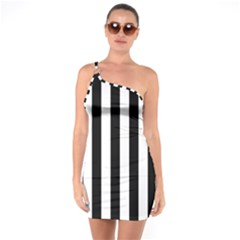 Black And White Stripes One Soulder Bodycon Dress
