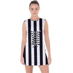 Black And White Stripes Lace Up Front Bodycon Dress
