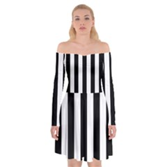 Black And White Stripes Off Shoulder Skater Dress