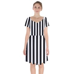 Black And White Stripes Short Sleeve Bardot Dress