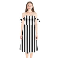 Black And White Stripes Shoulder Tie Bardot Midi Dress