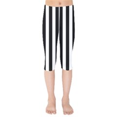 Black And White Stripes Kids  Capri Leggings