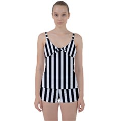 Black And White Stripes Tie Front Two Piece Tankini