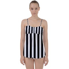 Black And White Stripes Babydoll Tankini Set