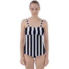 Black And White Stripes Twist Front Tankini Set
