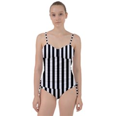 Black And White Stripes Sweetheart Tankini Set