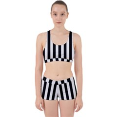 Black And White Stripes Work It Out Sports Bra Set