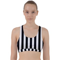 Black And White Stripes Back Weave Sports Bra