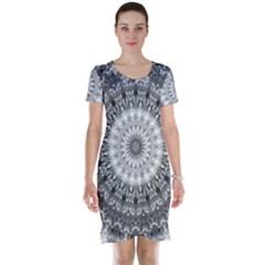 Feeling Softly Black White Mandala Short Sleeve Nightdress