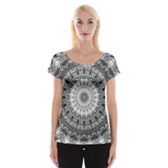 Feeling Softly Black White Mandala Cap Sleeve Tops