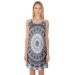 Feeling Softly Black White Mandala Sleeveless Satin Nightdress