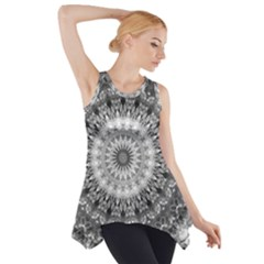 Feeling Softly Black White Mandala Side Drop Tank Tunic