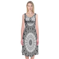 Feeling Softly Black White Mandala Midi Sleeveless Dress