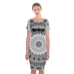 Feeling Softly Black White Mandala Classic Short Sleeve Midi Dress