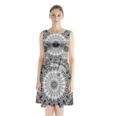 Feeling Softly Black White Mandala Sleeveless Waist Tie Chiffon Dress