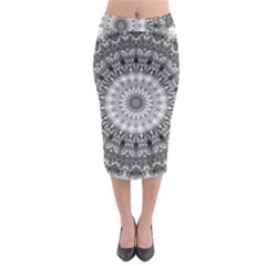 Feeling Softly Black White Mandala Midi Pencil Skirt