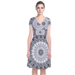 Feeling Softly Black White Mandala Short Sleeve Front Wrap Dress