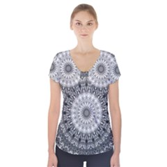 Feeling Softly Black White Mandala Short Sleeve Front Detail Top