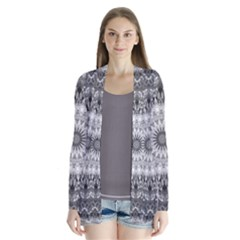 Feeling Softly Black White Mandala Drape Collar Cardigan
