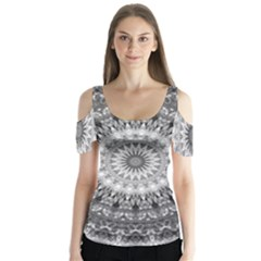 Feeling Softly Black White Mandala Butterfly Sleeve Cutout Tee
