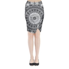 Feeling Softly Black White Mandala Midi Wrap Pencil Skirt