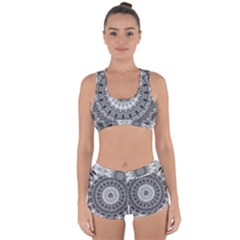 Feeling Softly Black White Mandala Racerback Boyleg Bikini Set