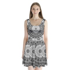 Feeling Softly Black White Mandala Split Back Mini Dress