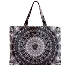 Feeling Softly Black White Mandala Zipper Medium Tote Bag