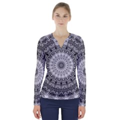 Feeling Softly Black White Mandala V Neck Long Sleeve Top