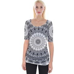 Feeling Softly Black White Mandala Wide Neckline Tee