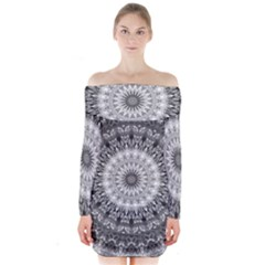 Feeling Softly Black White Mandala Long Sleeve Off Shoulder Dress